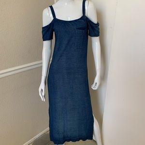 Cloth & Stone NEW! Blue Cotton Cold Shoulder Dress